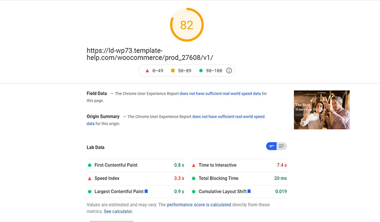 Wine Story PageSpeed Insights loading speed