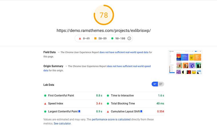 Exlibris WordPress PageSpeed Insights loading speed