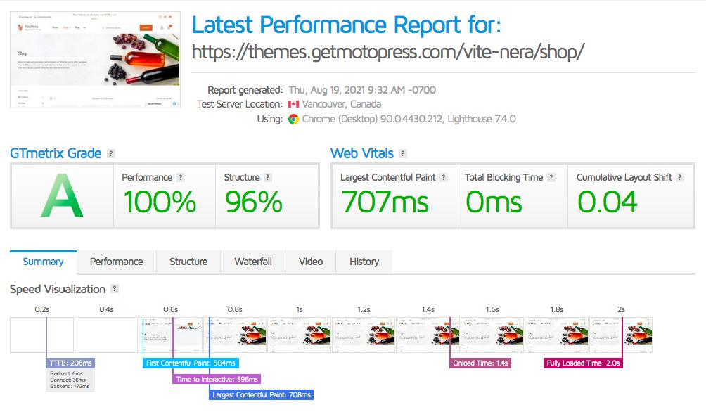 Fastest WooCommerce Themes - ViteNera speed result