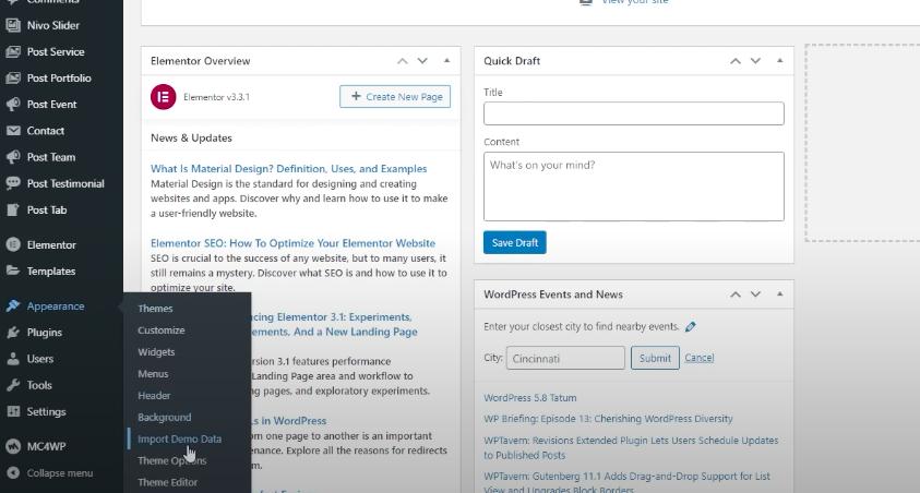 Import Demo Data section during WordPress installation