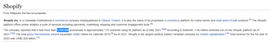 Wikipedia - Is Shopify Really a Big Company.