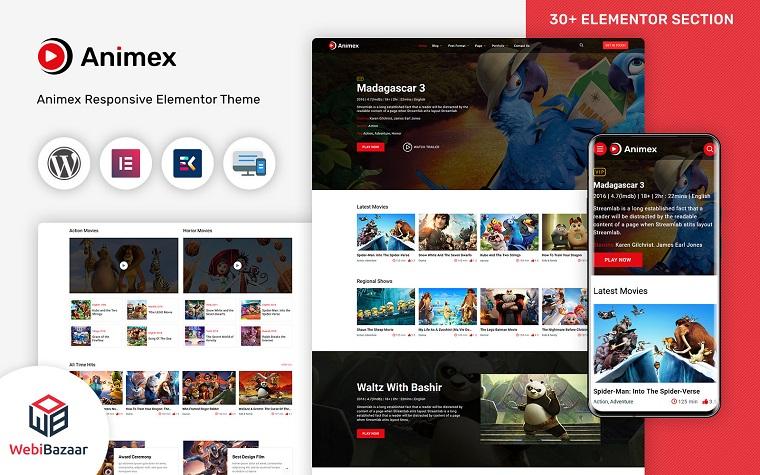 Animex - Special Effects Design Services Elementor WordPress theme.
