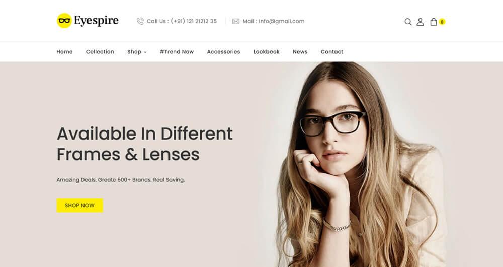 Eyespire - Eyeglasses, Sunglasses, Fashion Shopify Theme.