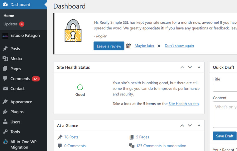 Access your WP dashboard.
