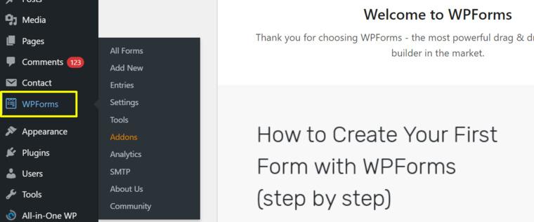 Click on WPForms.