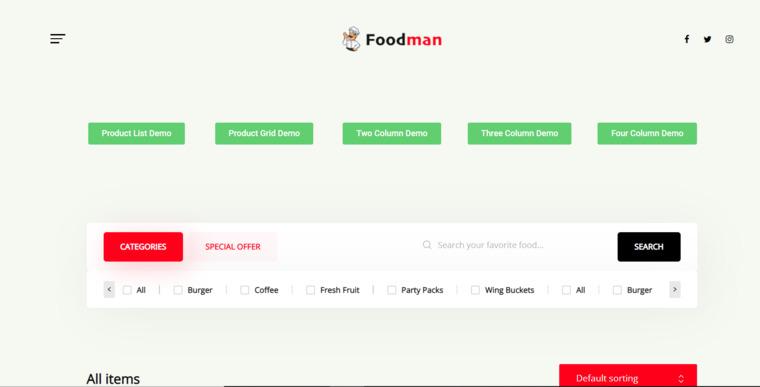 FoodMan plugin.
