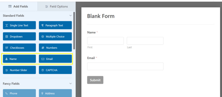 Blank form example.