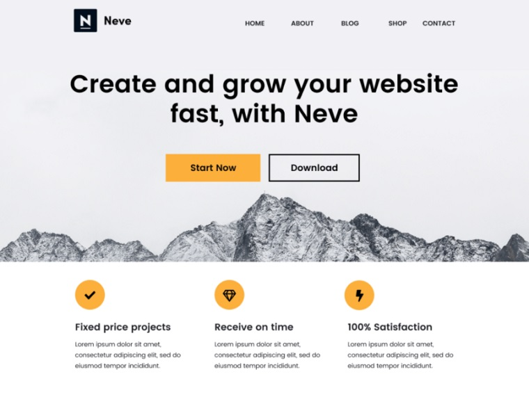 Neve - Free WP Theme for blogs and startups.
