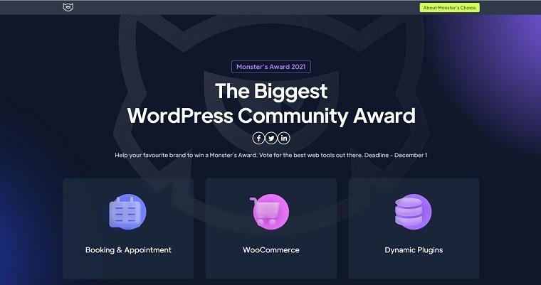 Wordpress community award.
